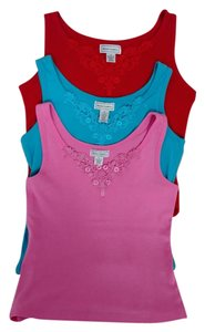 Anne Lewin Lace Applique 100% Cotton Machine Washable Top Red/ Turquoise/ Pink