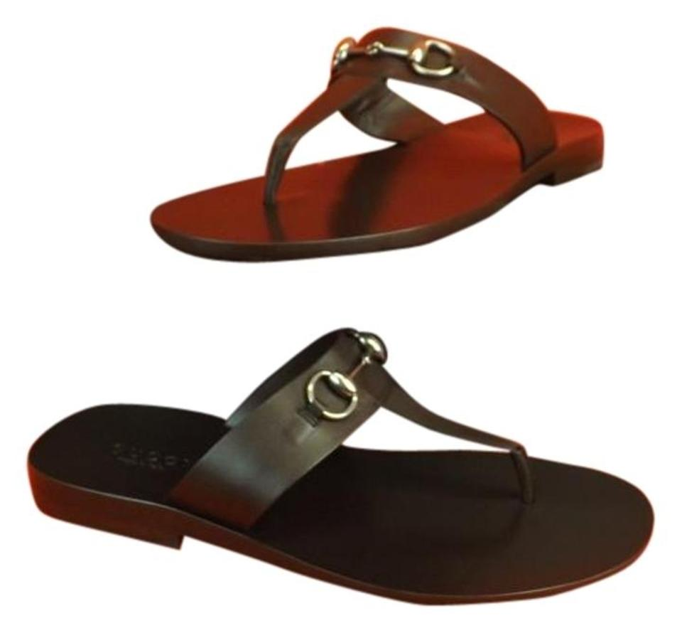 8bc18622a Gucci Brown Horsebit Men s Dark Leather Thong Sandals 10   Mules Slides