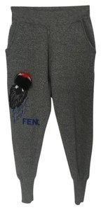Fendi Charcoal Winter Cuffed Jogger Skinny Pants Charcoal Grey