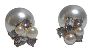 New Double Sided Faux Pearl Stud Earrings White J2906
