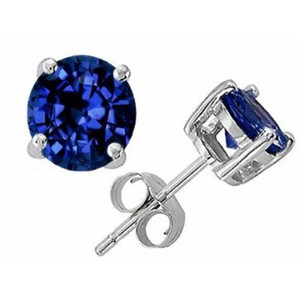 Other JewelryNest 14k White Gold Round Sapphire Prong Stud Earrings
