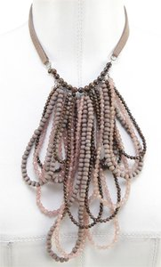 Brunello Cucinelli Brunello Cucinelli Bead Necklace Multistrand Loop Brown Silver Leather