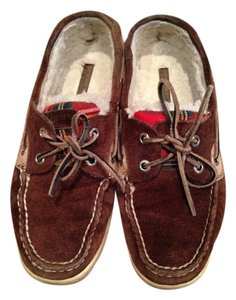 Sperry Dark Brown, Plaid Flats