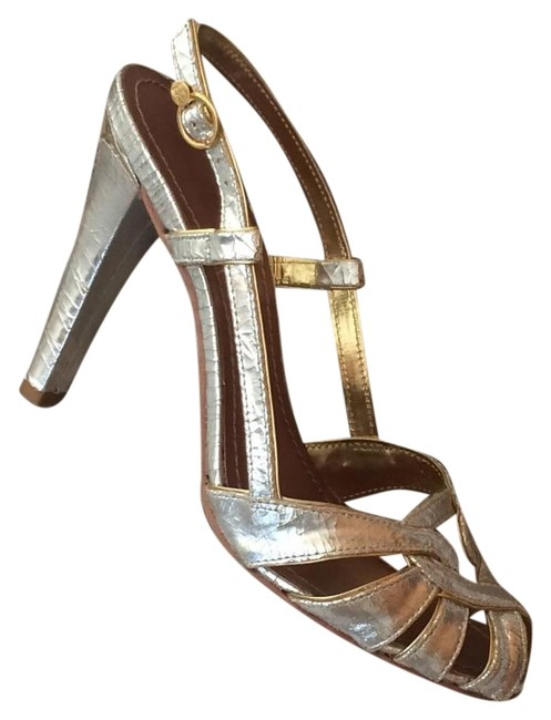 BCBGMAXAZRIA Silver Gold Formal Shoes Size US 7 Regular (M, B) BCBGMAXAZRIA Silver Gold Formal Shoes Size US 7 Regular (M, B) Image 1