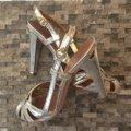 BCBGMAXAZRIA Silver Gold Formal Shoes Size US 7 Regular (M, B) BCBGMAXAZRIA Silver Gold Formal Shoes Size US 7 Regular (M, B) Image 3