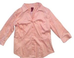 212 Collection Buttoned Collared 3/4 Sleeves Top Pink