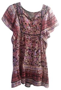 Anthropologie short dress multi Boho Flutter Reds Floral on Tradesy