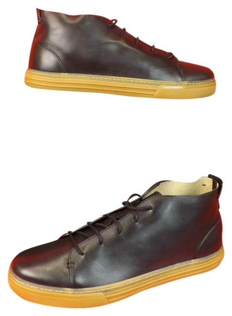 Item - Black Mens Leather High-top Lace-up Sneakers 8.5/ Boots/Booties Size US 9.5 Regular (M, B)