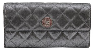 Chanel Chanel Silver Metallic Wallet EDINBURG Quilted Lambskin Leather Flap