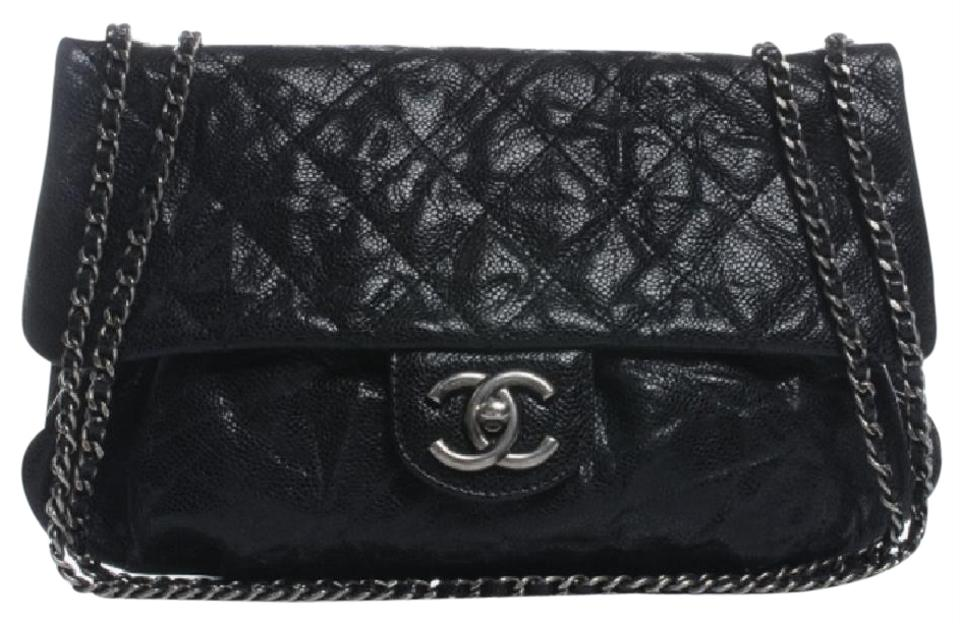 5abd9e440b2bb2 Chanel Classic Flap Leather Medium Elastic Black Glazed Caviar Cross Body  Bag