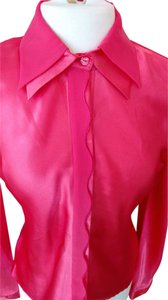 B. Moss Detailed Closure Machine Washable Layered Collar Top Coral