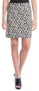 Karen Kane Jacquard A-line Mini Mini Skirt black and white print