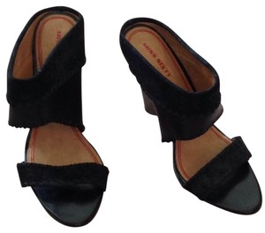 Miss Sixty Black apwith brown stacked wedge Wedges