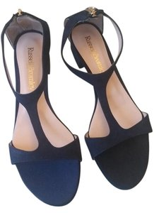 Russell and Bromley T-bar Sandals Suede Blue Flats