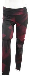 Athleta Burgundy Black Abstract Print Leggings Pants