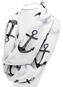 Other Nautical Anchor White And Black Anchor Infinity Scarf