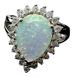 GoldCAKE GoldCAKE(tm) Pear Opal Triplet Halo Simulated Diamond Ring Size 7