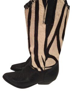 Saks Fifth Avenue Black & Ivory Zebra Print Calf Hair Boots
