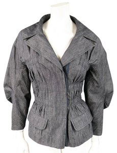 Louis Vuitton Ruched Pleated Gathered Womens Jean Jacket
