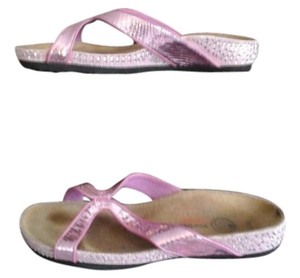 EuroWellness Rare Couture Leather Swarovski Crystals Pink Sandals