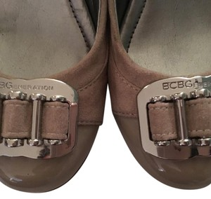 BCBGeneration Buckle Toes Taupe Wedges