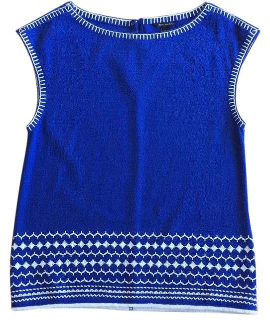 30%OFF Banana Republic Cobalt Blue And White Embroidered Knit Nwot Top - 65% Off Retail