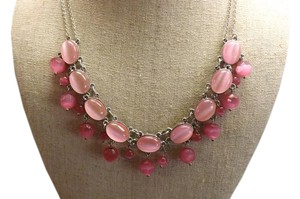 NY Pink Necklace Pink Stone Double Strand Necklace