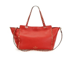 Valentino Rockstud Studded Tote in red