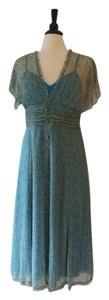 Teal Green Tan Maxi Dress by Dress Barn