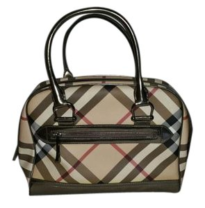 Burberry Classic Designer Satchel in pewter and plaid