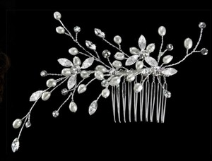 Rhinestone And Pearl Large Bridal Comb
