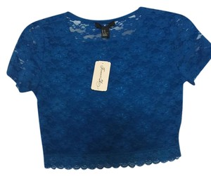 Forever 21 21 Crop Sheer T Shirt Blue