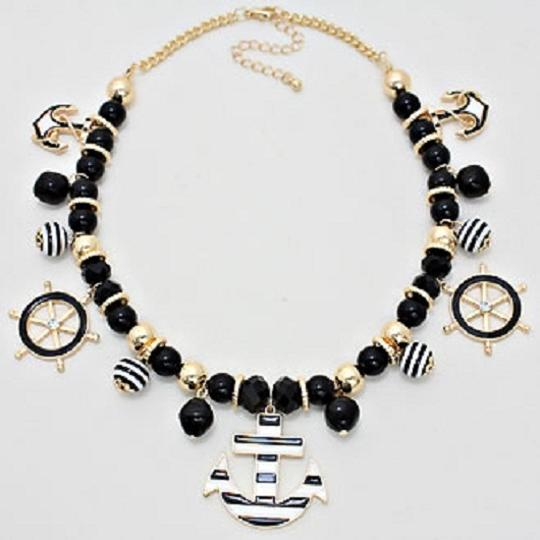Other Nautical By The Sea Black and White Stripe Anchor Gold Bib Collar Necklace Earring Set