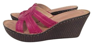 Hush Puppies Wedge Sandal Leather Raspberry Pink Wedges