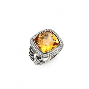 David Yurman Albion Ring with Citrine and Diamonds