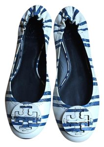 Tory Burch White and Blue Stripes Flats
