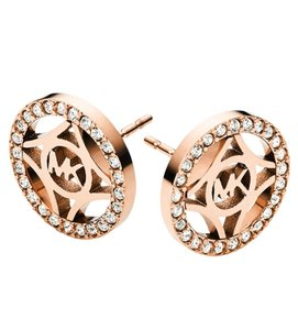 Michael Kors Michael Kors MKJ4274 Monogram Crystals Rose Gold Post Earrings NEW!