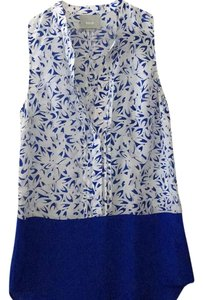 Anthropologie Top Navy and white