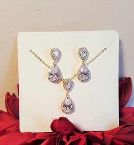 Bridal Gold Plated Cz Necklace Set