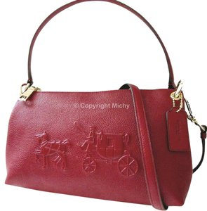Coach Leather Embossed Charley F33521 Shoulder Strap Cross Body Bag