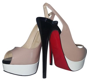 Christian Louboutin Platform High Heels Color nude white and black patent Sandals