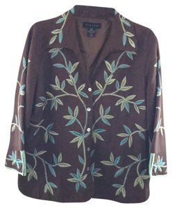 SilkLand Top Brown W/Leave Embroidery