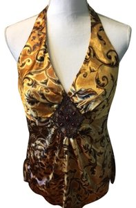 Cache Beaded Gold/choc/black/yellow Halter Top