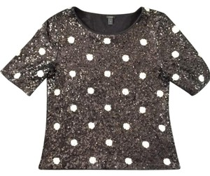 J.Crew Sequins Polka Dot Top Black/White