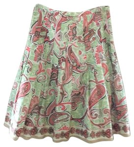 Tahari Skirt Multi Color Paisley Print