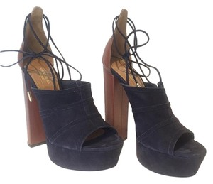 Aquazzura Suede Leather Platform Navy and Brown Platforms