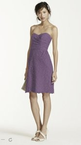 David's Bridal Wisteria Short Strapless All Over Lace Dress Dress