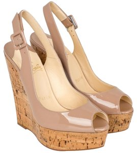 Christian Louboutin Patent Wedge Cork 37 Nude Wedges
