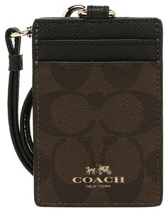 Coach Coach Sig PVC Leather Brown Black Lanyard ID Credit Card Holder 63274