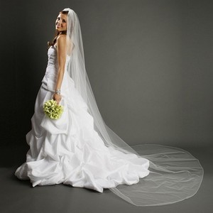 Mariell One Layer Dramatic Cathedral Length Wedding Veil With Pencil Edging 939v-w